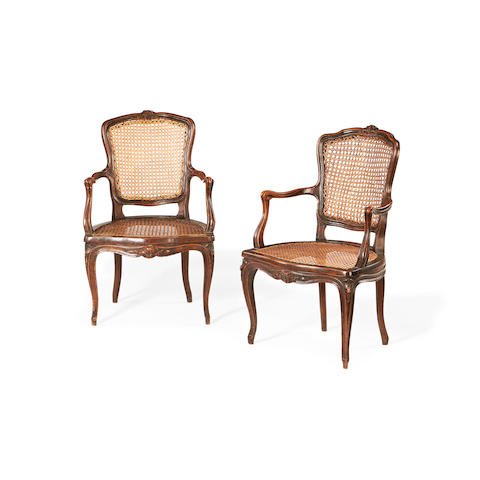 A pair of French late 19th century stained beech childs' chairs in the Louis XV style