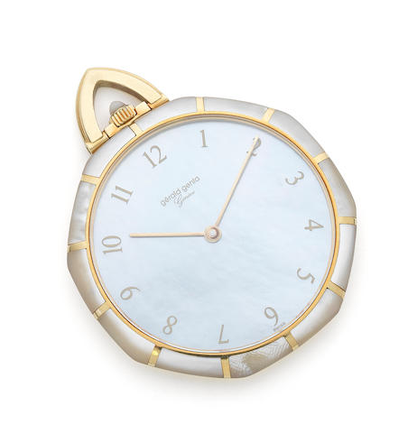 Gerald Genta. An 18ct gold and mother-of-pearl set keyless wind pocket watch Ref:G.2385.7, Case No.22432, Circa 1995