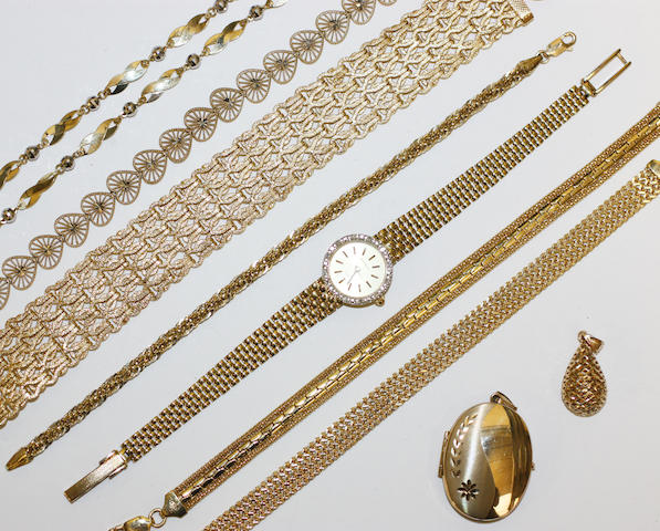 A collection of yellow precious metal items,