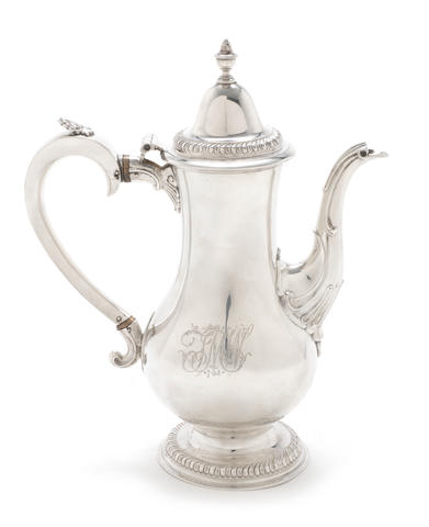 A George III silver baluster coffee pot by Langlands I and Robinson I, Newcastle 1783