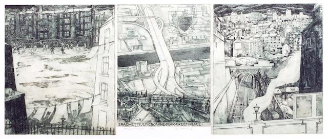 Ian Fleming, RSA RSW RWA RGI LLD HonDart (British, 1906-1994) Glasgow Triptych Three vignettes, overall 39.5cm x 85cm