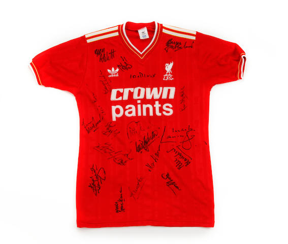 1985/86 Liverpool shirt worn by Kenny Dalglish, hand signed by squad