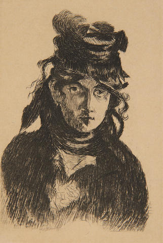 Edouard Manet (French, 1832-1883) Charles Baudelaire, in profile I & Berthe Morisot etchings, 1910, the final states, one signed 'EM' in the plate, 119 x 75mm (PL)(unframed)(2)
