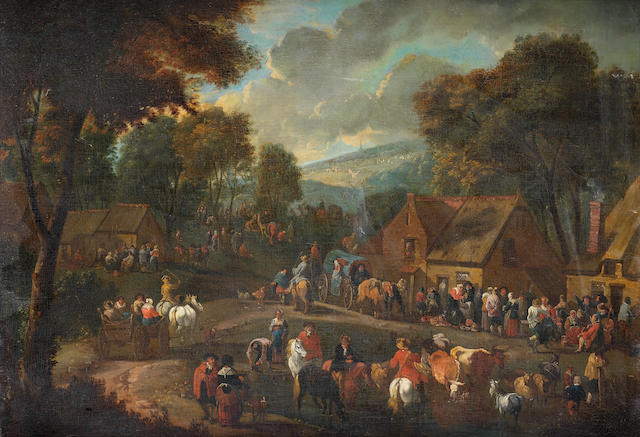 Circle of Pieter Bout (Brussels 1658-1719) Travellers halting at a village inn with drovers watering their animals nearby