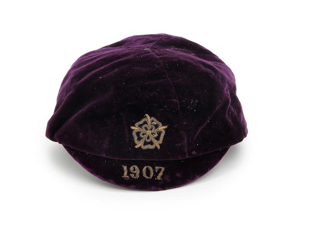A 1907 England cap awarded to Bob Crompton