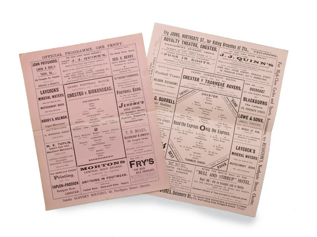 1907/08, 1908/09 Chester home programmes