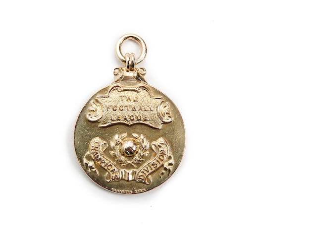 1962 - 63 Division 2 Champions medal awarded to Stoke City's Keith Bebbington