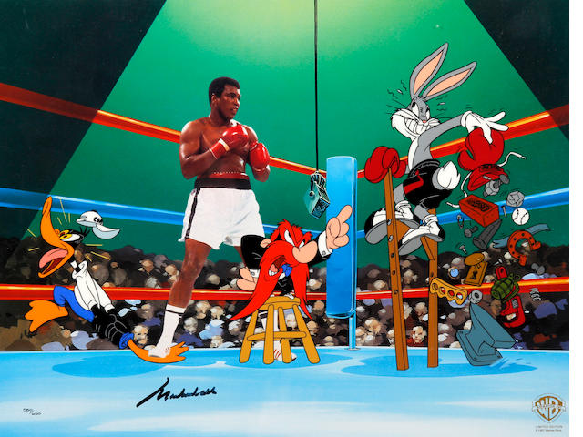 Muhammad Ali 'Empty that Glove' Warner Bros print and Joe Frazier hand signed fight picture