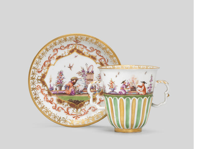 A Meissen two-handled chocolate cup and a saucer, circa 1728