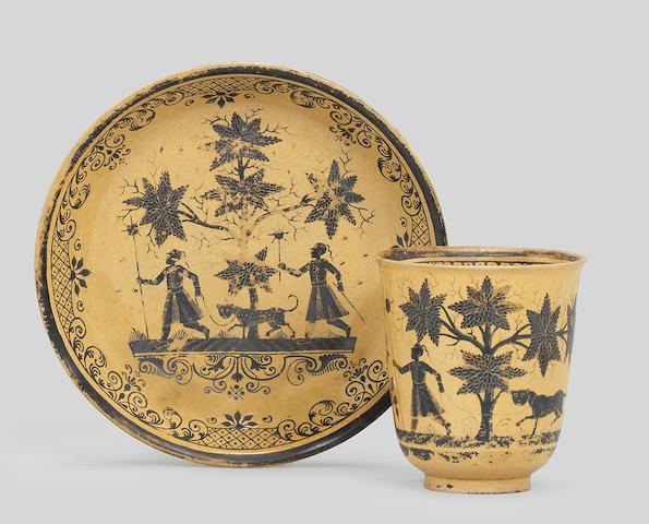 A rare Bayreuth stoneware coffee cup and saucer, circa 1728-44