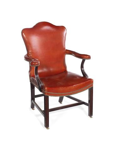 A George III style  mahogany 'Gainsborough' armchair