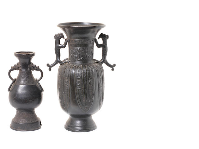Two bronze vases, Ming Dynasty and later