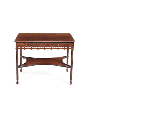 A George III mahogany blind fret carved centre table in the Gothick taste