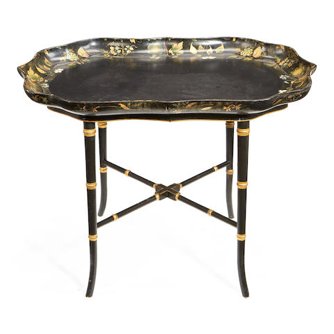 A Regency parcel gilt decorated papiér mâché tray-on-later stand  the tray by Henry Clay
