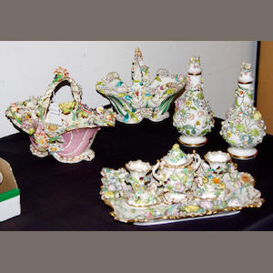 A group of flower-encrusted English porcelain, circa 1835-40