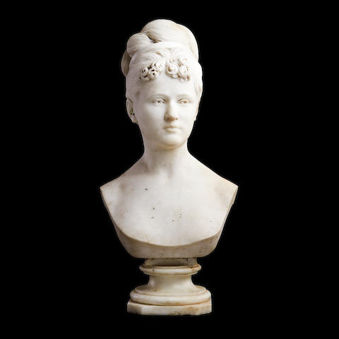 A mid 19th century marble bust of a girl