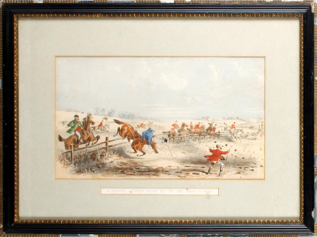 "A pair of 19th Century hunting prints ""Pippin's horse carries him almost too well"" and ""A cropper"""