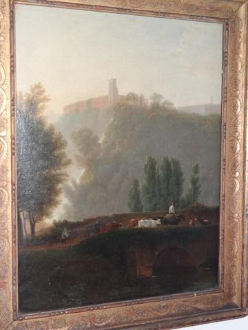 Italian School, (early 19th century) A view of Tivoli with a mounted drover and cattle crossing a bridge