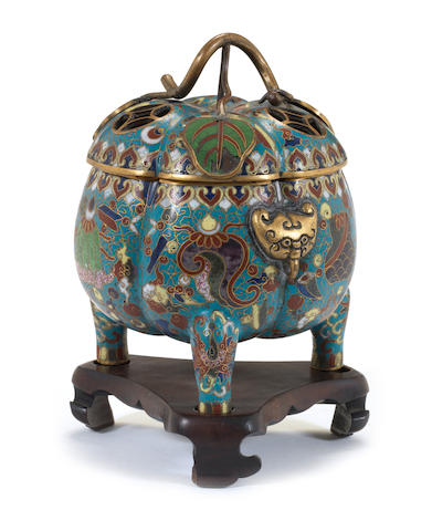 A cloisonne tripod bowl and cover