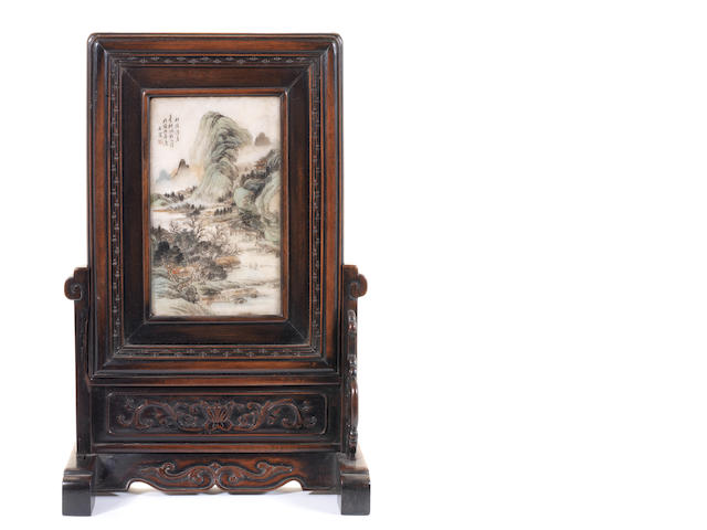 A wood-mounted painted marble, or other stone, table screen 19th or 20th century