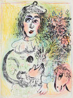 Marc Chagall (Russian/French, 1887-1985) Lithographe I-VI The complete set of six volumes, 1960-1986 check,  28? comprising ...lithographs printed in colours, with text in German,  printed by Mourlot Freres, Paris, bound in boards, in the original lithographed paper wrappers, four in protective slipcases, overall 325 x 250mm (12 3/4 x 9 3/4in)  last 2 vols dont have lithos? check 6 vol