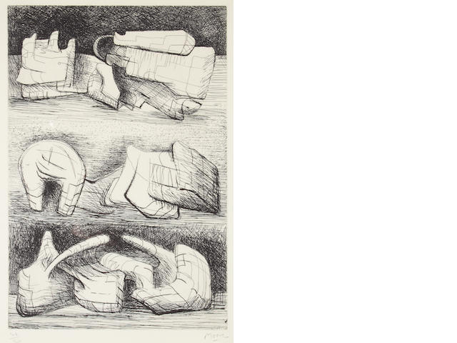 Henry Moore O.M., C.H. (British, 1898-1986) Three Sculptural Motives Etching, 1970, on Rives, with the artist's watermark, signed and numbered 44/50 in pencil, 295 x 197mm (11 5/8 x 7 3/4in)(PL)  unframed