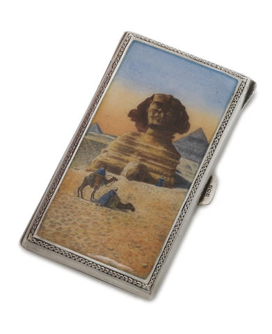 A silver and enamelled small cigarette case incuse marked 935, thumbpiece with Egyptian marks date letter F, possible for 1930