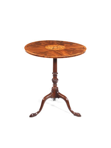 A George III mahogany crossbanded and marquetry tripod table