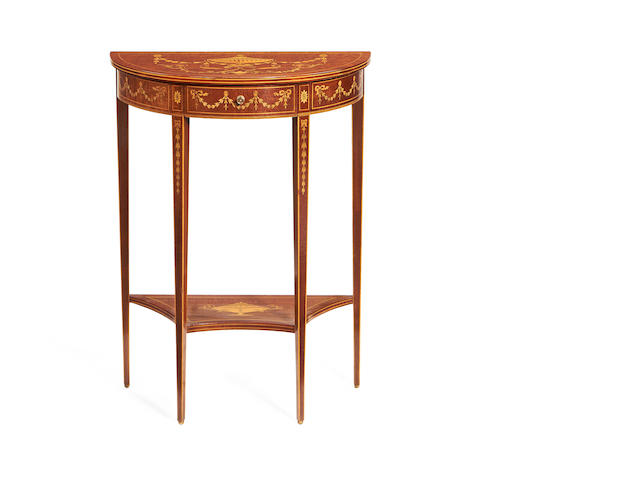A late Victorian fiddleback mahogany, satinwood and stained sycamore marquetry demi-lune table