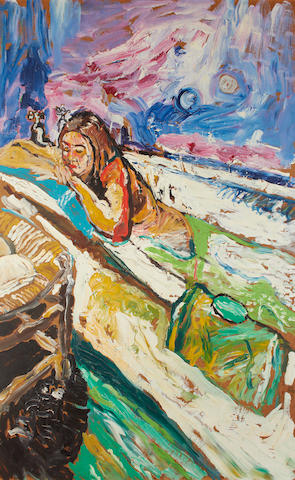 John Bratby R.A. (British, 1928-1992) Patti in the bath
