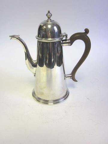 A modern  silver coffee pot by Garrard & Co Ltd, London 1961