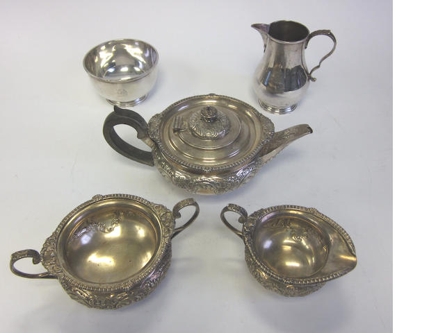 A Edwardian silver three-piece tea sevice by Elkington & Co, Birmingham 1902-3  (5)