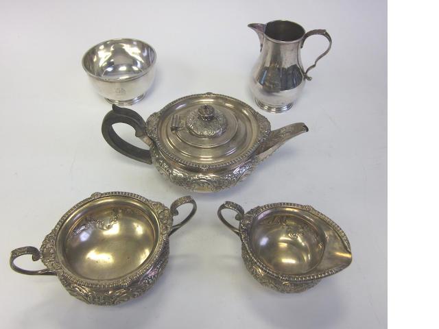 A Edwardian silver three-piece tea sevice by Elkington & Co, Birmingham 1902-3  (5)