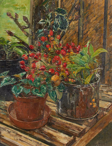 Olwyn Bowey RA (British, born 1936) In the greenhouse
