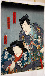 A collection of thirteen Japanese woodblock prints, various artists and subjects including:
