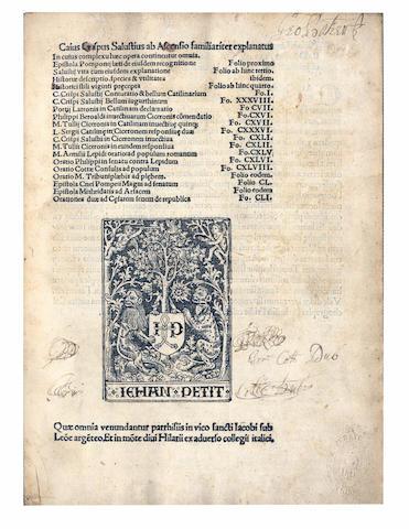 SALUSTIUS (CAIUS CRISPUS) Caius Crispus Salustius ab Ascensio familiariter explanatus, Paris, 1504