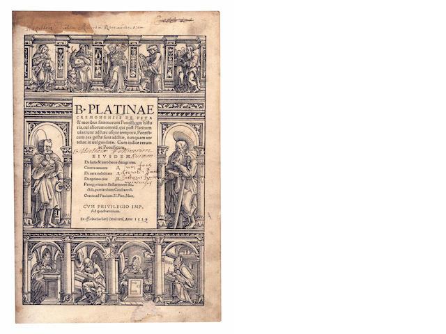 PLATINA (BARTOLOMEO) De vita & moribus summorum Pontificum historia, 1529; bound with Bede. De natura, 1529