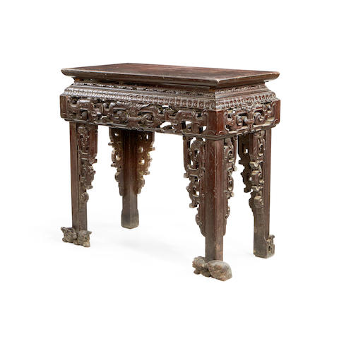 A Chinese 19th century hardwood small altar/side table