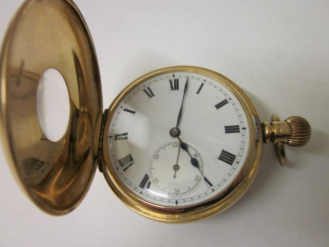 A 15 carat gold half hunter pocket watch,
