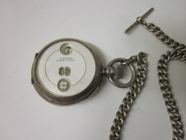 A Victorian silver open faced digital pocket watch,