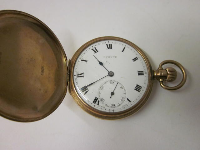 Stayte: A 9 carat gold hunter pocket watch,