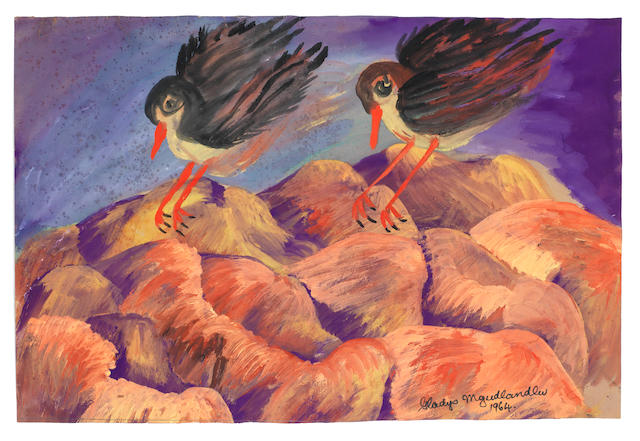 Gladys Mgudlandlu (South African, 1917-1979) Two birds on red mountains, 1964 unframed
