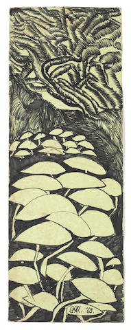 Gladys Mgudlandlu (South African, 1917-1979) Three ink drawings including 'Mushrooms' 64 x 31, 62.5 x 20, 64 x 23 (3) unframed
