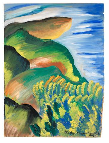 Gladys Mgudlandlu (South African, 1917-1979) African scenery unframed