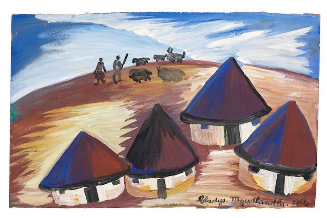 Gladys Mgudlandlu (South African, 1917-1979) Four rondavels unframed