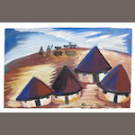 Gladys Mgudlandlu (South African, 1917-1979) Four rondavels unframed