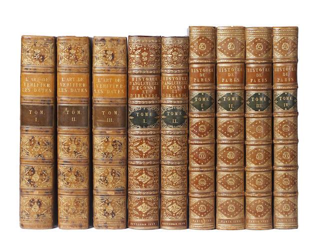 CLEMENT (FRANCOIS)] L'art de vérifier les dates des faits historiques, des charts, et autres anciens monumens, depuis la naissance de Notre-Seigneur, 3 vol., 1783; and others, bindings (9)