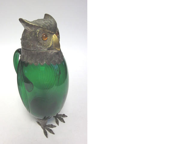 A silver-plate-mounted green glass novelty owl decanter