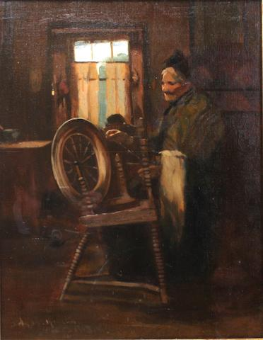 John Rennie Mackenzie Houston (Scottish, 1856-1932) Spinning wheel