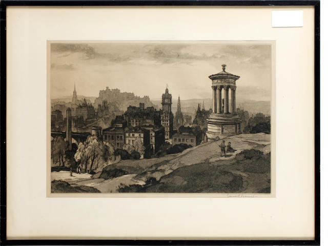 Leonard Russell Squirrell, R.W.S., R.I., R.E. (British, 1893-1979) Edinburgh from Castle Hill etching, 24.5 x 36.5cm, and another, Urquart Castle, Loch Ness (unframed) (2)